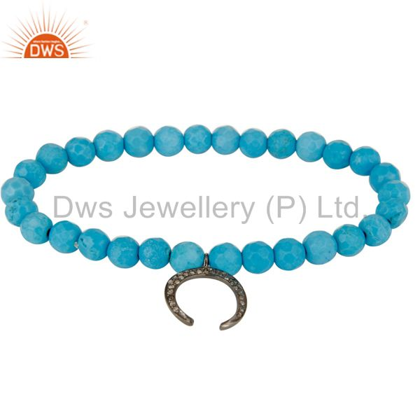 Turquoise Gemstone Beaded Stretch Bracelet with Pave Diamond Horseshoe Charm