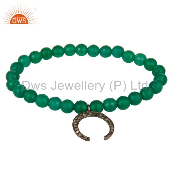 925 Sterling Silver Pave Diamond Horseshoe Charms Green Onyx Beads Bracelet