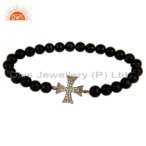 Pave Diamond Sterling Silver Star Charm Black Onyx Gemstone Stretch Bracelet