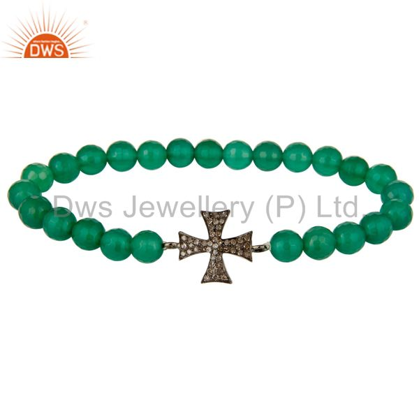 Green Onyx Stone Beaded Stretch Bracelet with Pave Diamond Silver Cross Charm