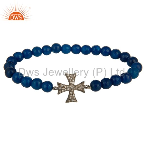 Pave Diamond 925 Sterling Silver Cross Charms Bracelet With Blue Onyx Beads