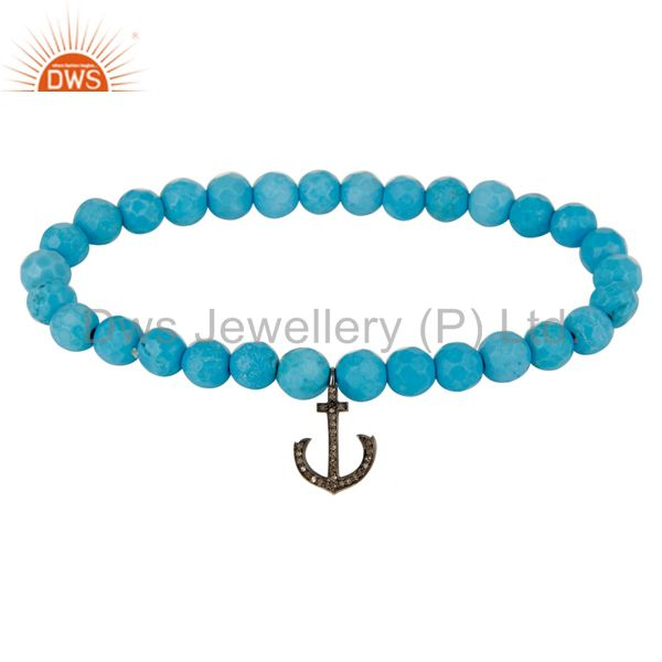 Turquoise Gemstone Stretch Bracelet With Pave Set Diamond Silver Anchor Charms