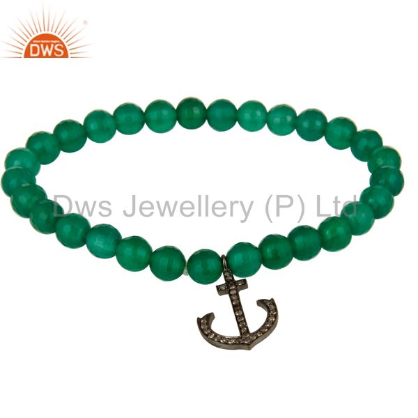 925 Sterling Silver Pave Diamond Anchor Charms Green Onyx Beads Stretch Bracelet