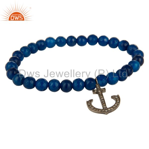 Blue Onyx 925 Sterling Silver Pave Diamond Anchor Sign Charms Stretch Bracelet