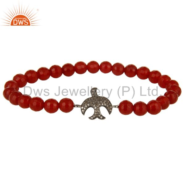 Pave Diamond Silver Flying Bird Charms Faceted Carnelian Gemstone Bracelet
