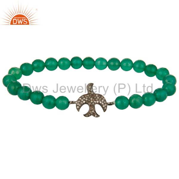 Silver Pave Set Diamond Flying Bird Charm Faceted Green Onyx Adjustable Bracelet