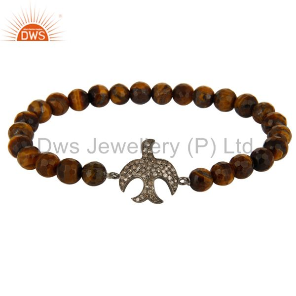 Faceted Tiger Eye Stretch Bracelet With Pave Set Diamond Flying Bird Charms