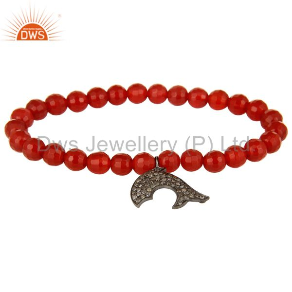 925 Sterling Silver Pave Set Diamond Dolphin Charms Carnelian Stretch Bracelet
