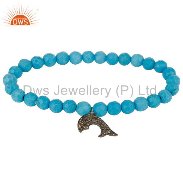 Pave Diamond Silver Dolphin Charms Faceted Turquoise Beaded Stretch Bracelet