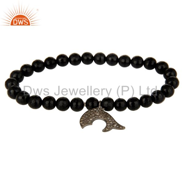 Natural black onyx sterling silver pave diamond dolphin charms stretch bracelet