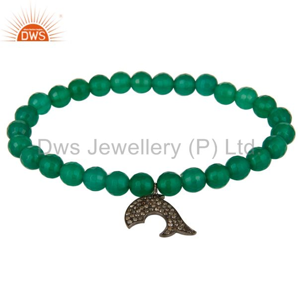 Natural Green Onyx Sterling Silver Pave Diamond Dolphin Charms Stretch Bracelet