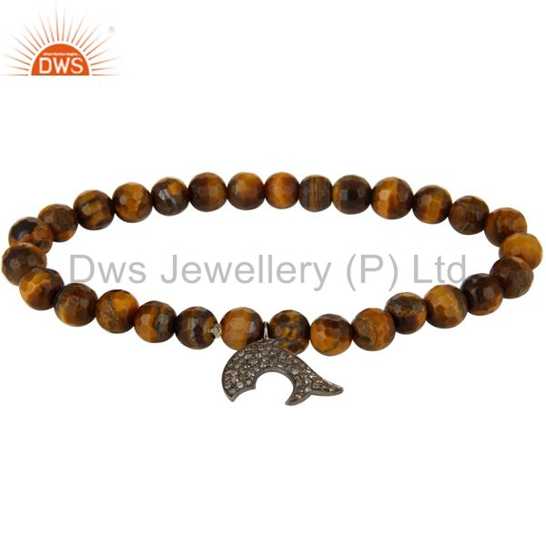 925 Sterling Silver Diamond Accent Dolphin Charms Tiger Eye Stretch Bracelet