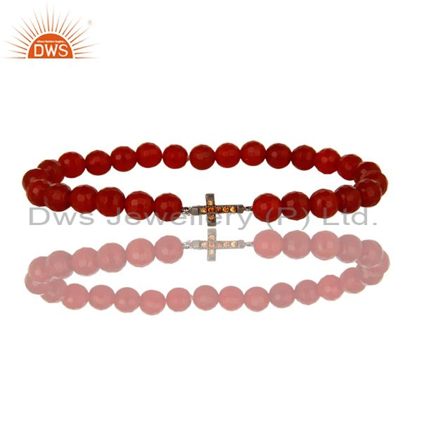 925 Sterling Silver Spessartite Cross Charms Faceted Carnelian Stretch Bracelet