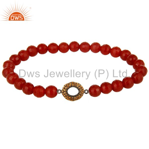Spessartite Garnet Silver Open Circle charms Carnelian Gemstone Stretch Bracelet