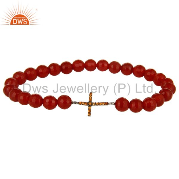 Spessartite Garnet Silver Cross charms Carnelian Gemstone Stretch Bracelet