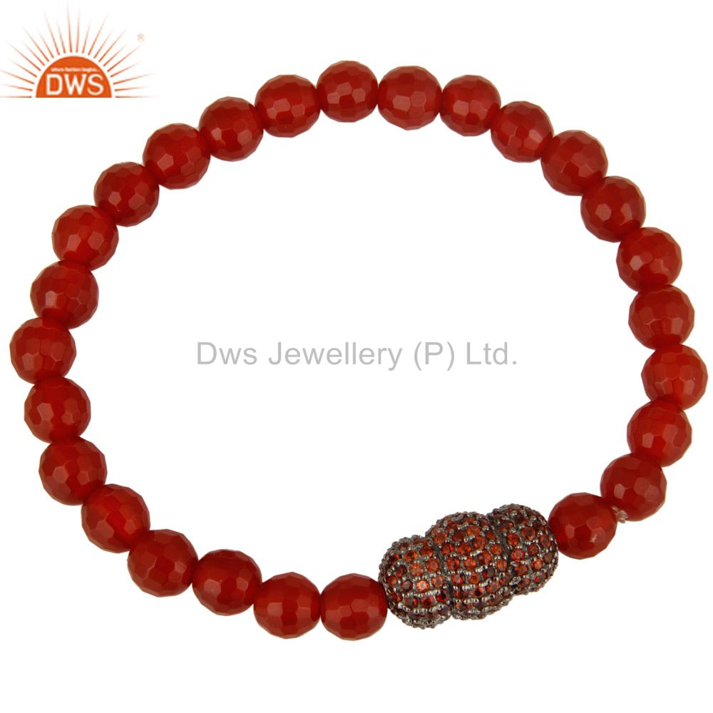 Faceted Carnelian Gemstone Stretch Bracelet With Silver Pave Spessartite Garnet