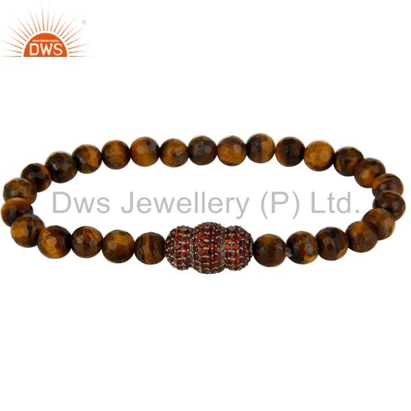 Spessartite Garnet Sterling Silver Finding Faceted Tiger Eye Stretch Bracelet