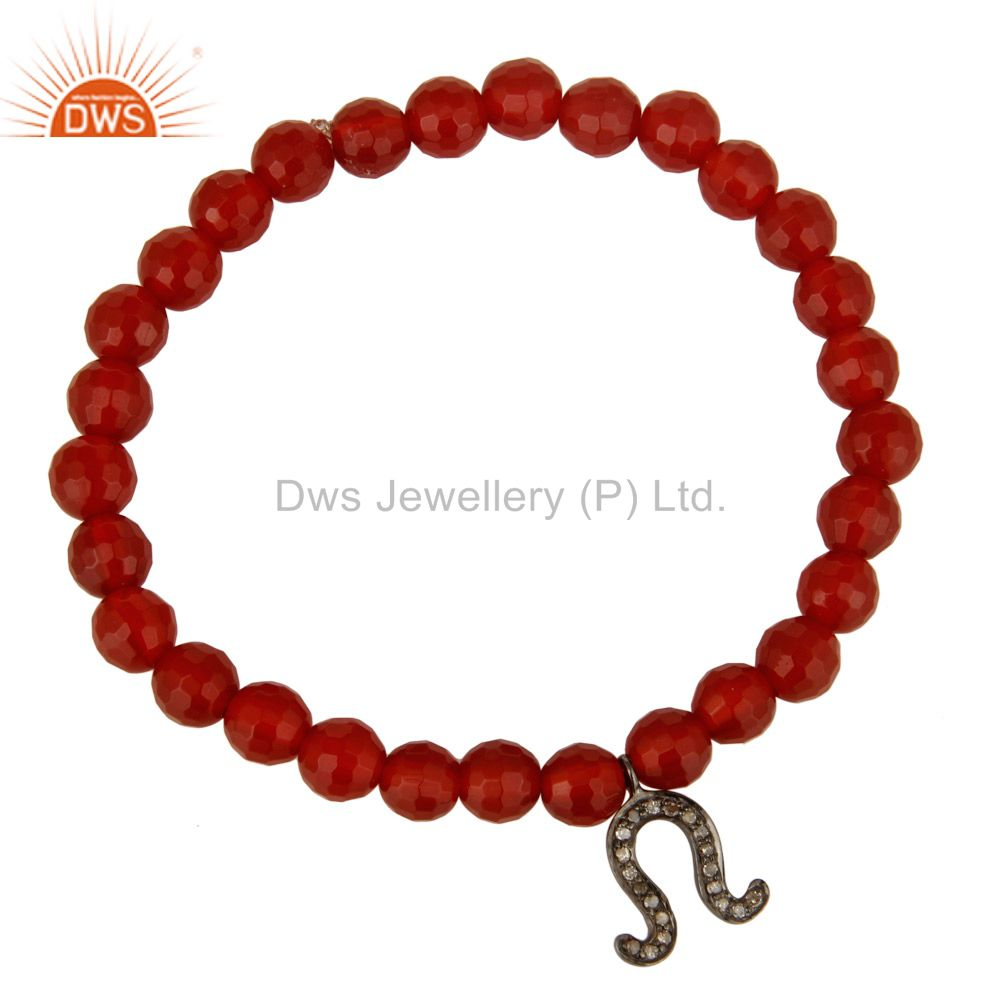 Oxidized Silver Pave Diamond Horseshoe Charm Faceted Carnelian Stretch Bracelet