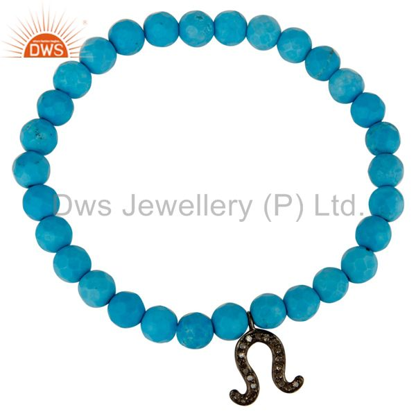 925 Sterling Silver Pave Diamond Horseshoe Charm Bracelet With Turquoise Beads