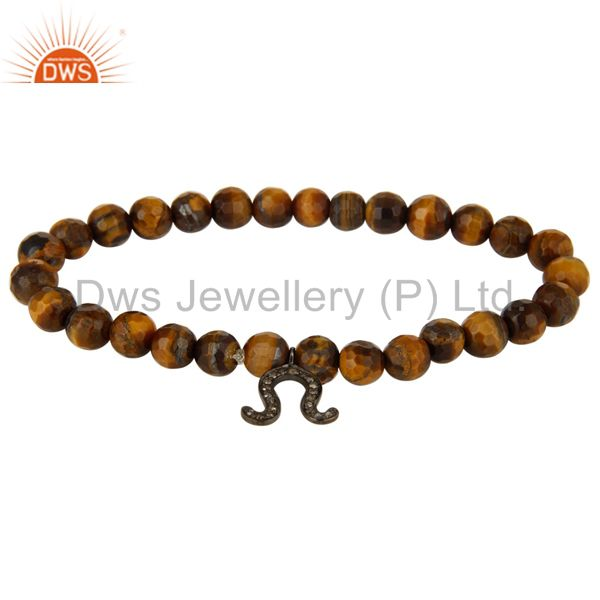 Tiger Eye Gemstone Sterling Silver Diamond Accent Horseshoe Charm Bracelet