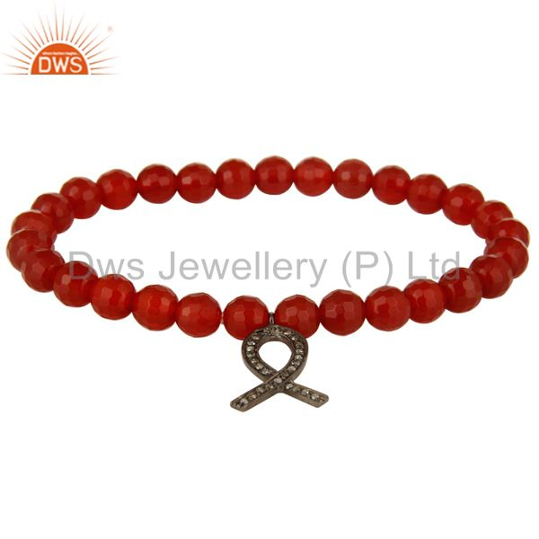 Natural Carnelian Sterling Silver Pave Diamond Awareness Ribbon Charms Bracelet