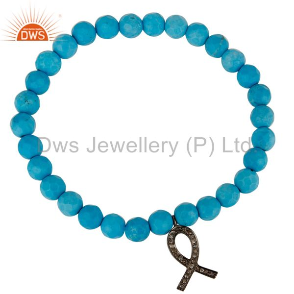 Turquoise Gemstone Stretch Bracelet With Pave Diamond Ribbon Charm Jewelry