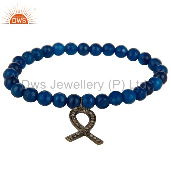 Blue Onyx Beads 925 Silver Pave Diamond Awareness Ribbon Charms Stretch Bracelet