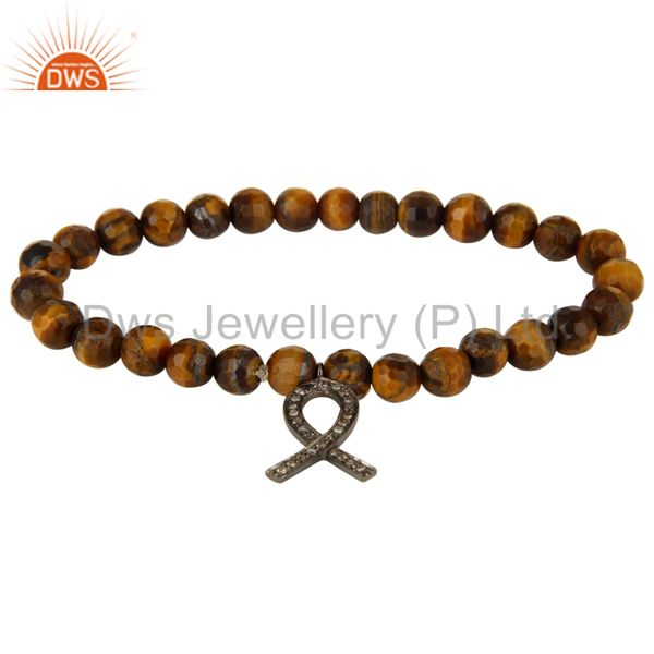 Tiger Eye Gemstone Sterling Silver Pave Diamond Ribbon Charms Bracelet