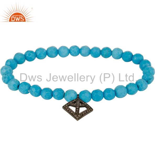 Pave diamond 925 silver peace charm turquoise gemstone stretch bracelet