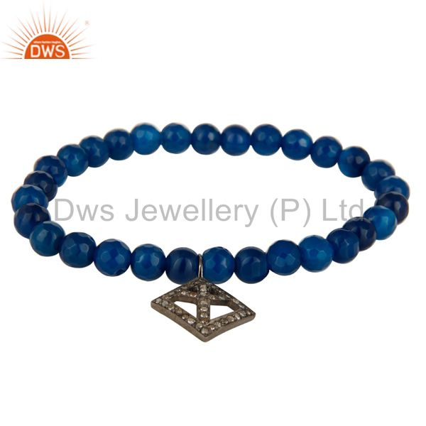 Faceted Blue Onyx Gemstone Adjustable Bracelet With Silver Pave Diamond Charms
