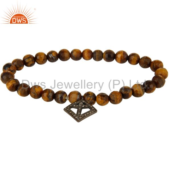 Tiger Eye Gemstone Sterling Silver Pave Diamond Peace Sign Charms Bracelet