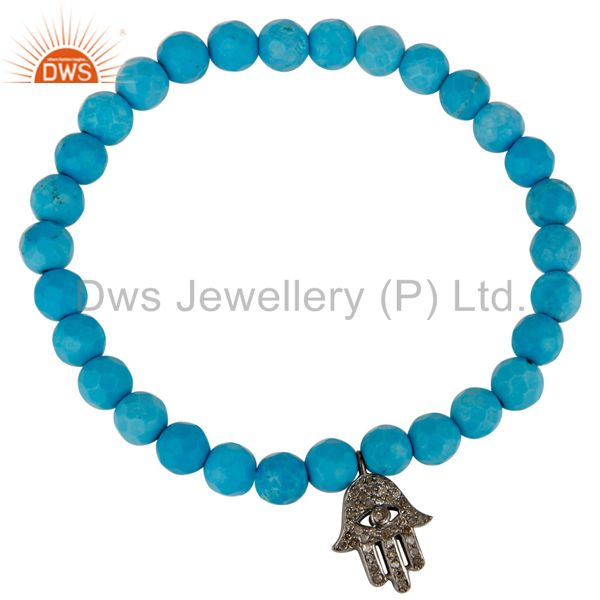 925 Sterling Silver Turquoise Pave Diamond Hamsa Charms Stretch Bracelet