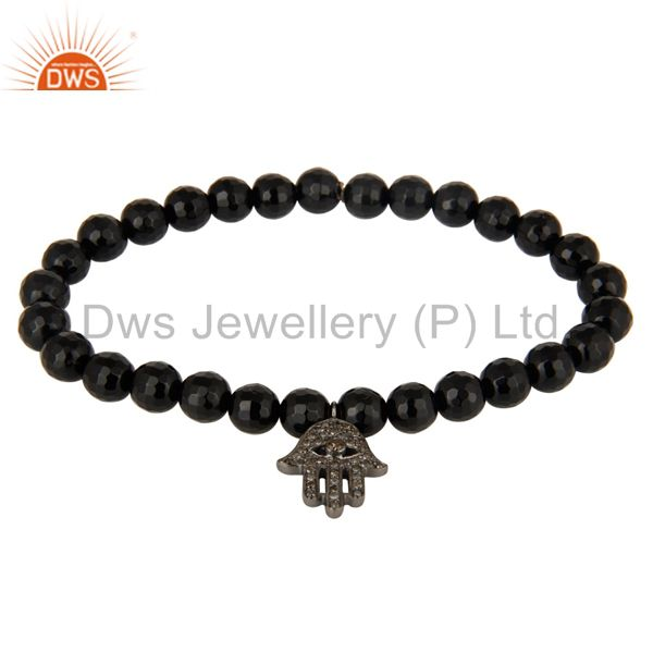 925 Sterling Silver Pave Diamond Hamsa Charms Black Onyx Stretch Bracelet