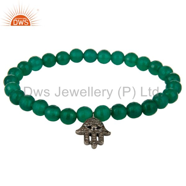 925 Sterling Silver Pave Diamond Hamsa Charms Green Onyx Stretch Bracelet