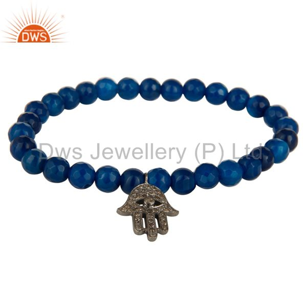 925 Sterling Silver Pave Diamond Hamsa Charms Blue Onyx Beads Stretch Bracelet