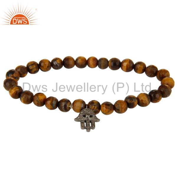925 Sterling Silver Pave Diamond Hamsa Charms Tiger Eye Stretch Bracelet