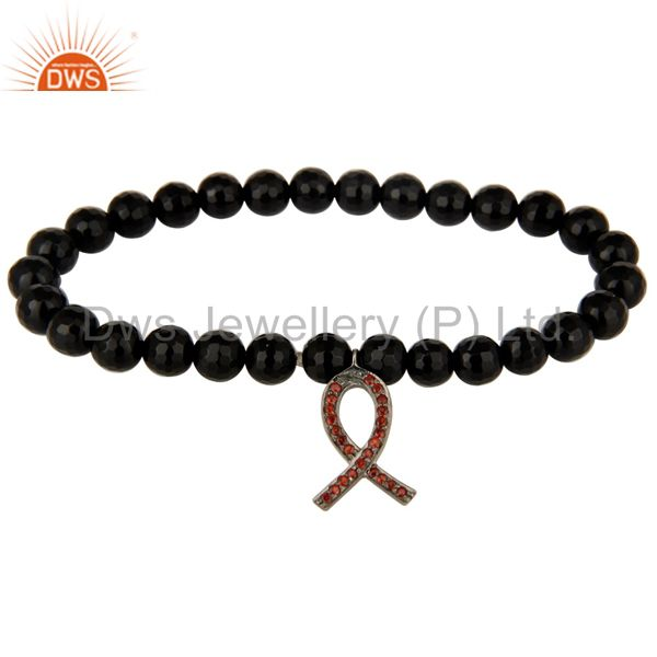 925 Silver Spessartite Awareness Ribbon Charms Faceted Black Onyx Beads Bracelet