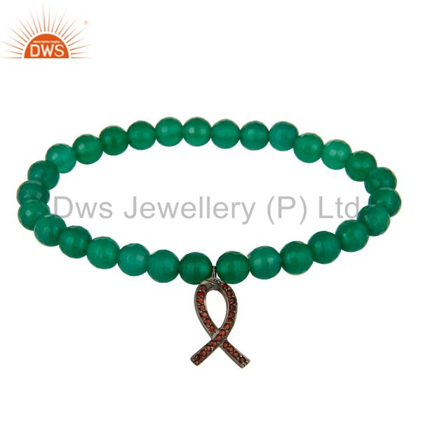 Green onyx adjustable bracelet with spessartite garnet ribbon awareness charms