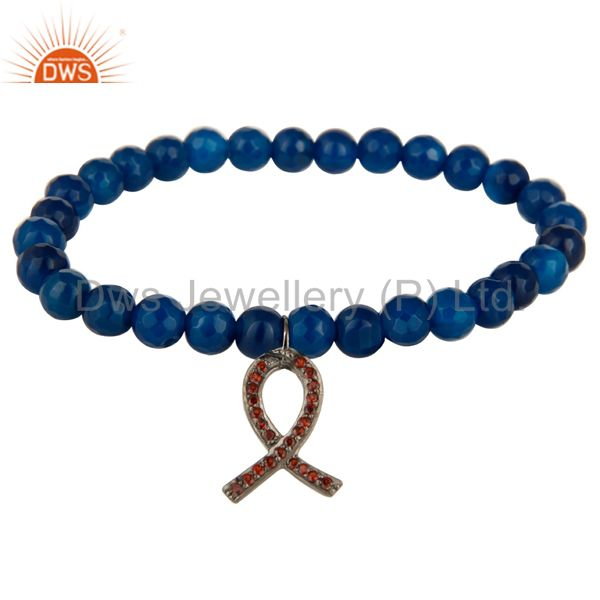 Blue Onyx Adjustable Bracelet With spessartite Garnet Ribbon Awareness Charms