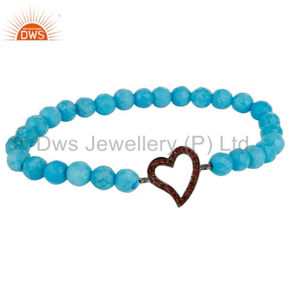 Faceted Turquoise Adjustable Bracelet With spessartite Garnet Heart Charms