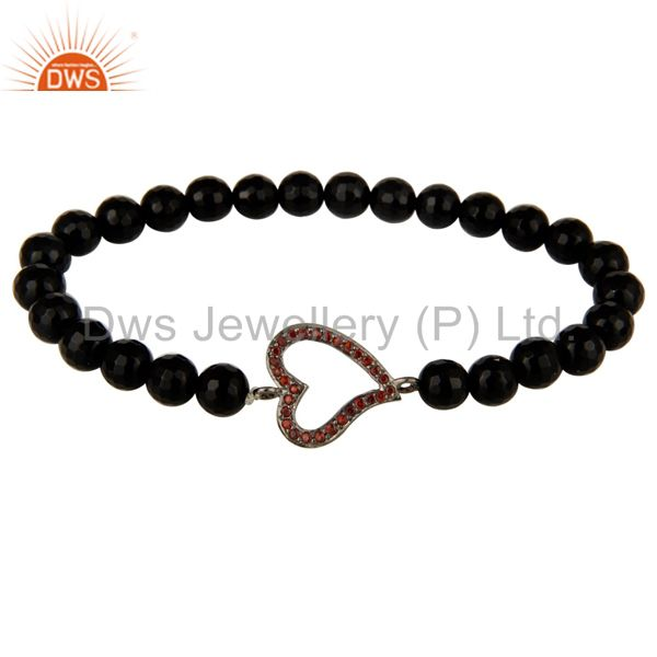 Faceted black onyx beads sterling silver spessartite heart charms bracelet