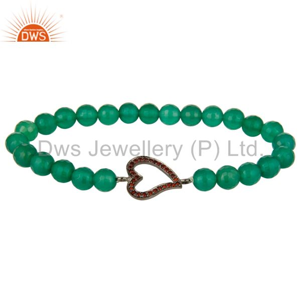 Faceted Green Onyx Gemstone Stretch Bracelet With Spessartite Garnet Heart Charm