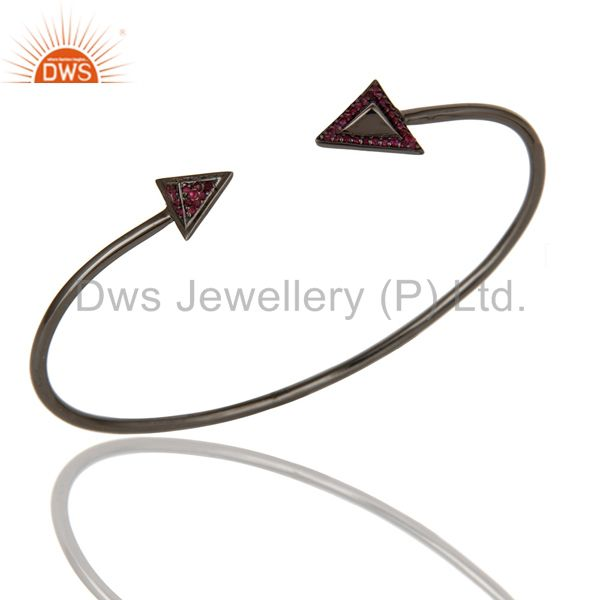 925 Sterling silver Natural Ruby Gemstone bangle bracelet  Jewelry