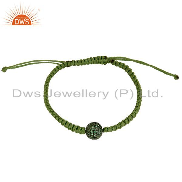 Traditional Handmade 925 Sterling Silver Tsavourite Bracelet With Cotton Dori