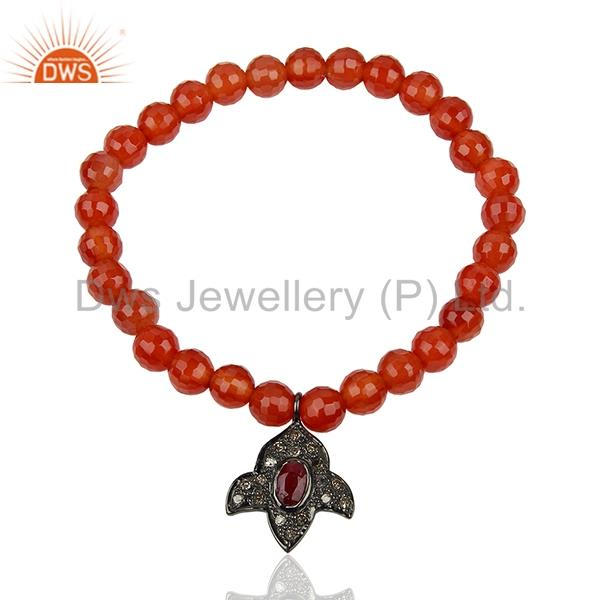 Carnelian Gemstone Pave Diamond Strechable Bracelet Jewelry Supplier