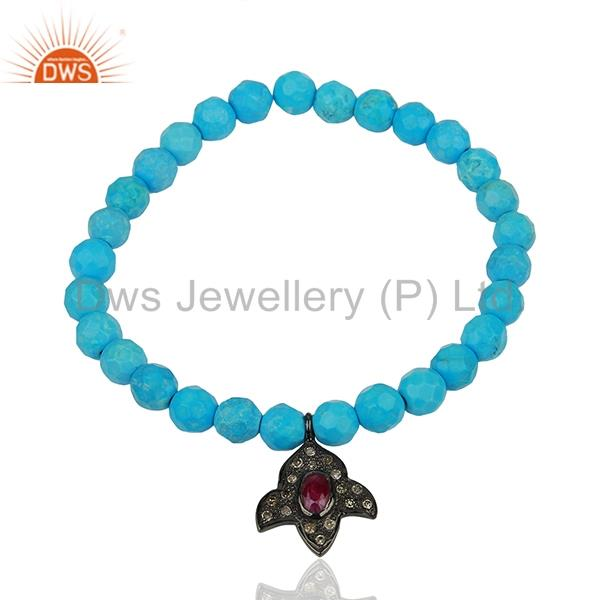 Turquoise Beads Gemstone Pave Diamond Strechable Bracelet Jewelry