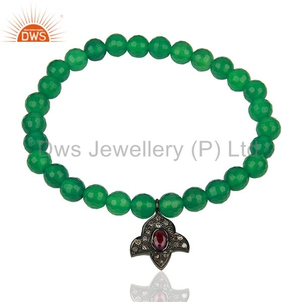 Pave diamond green onyx gemstone beads strechable bracelet supplier