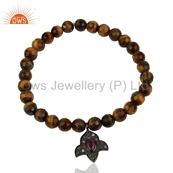 Wholesale pave diamond tiger eye gemstone beads bracelet manufacturer