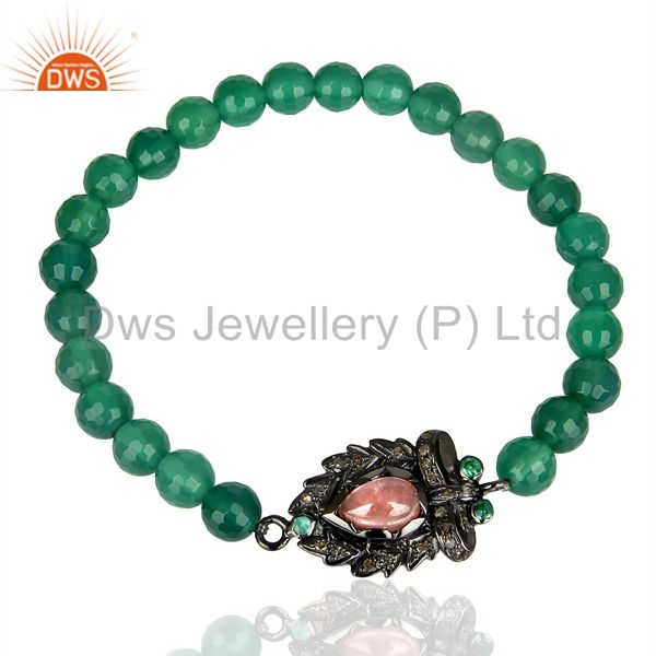 Natural Diamond Charms Bracelet,Pink Tourmaline Bracelet.Green Onyx Bracelet