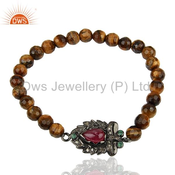 Tiger Eye Gemstone Beads Pave Diamond 925 Silver Sterchable Bracelet